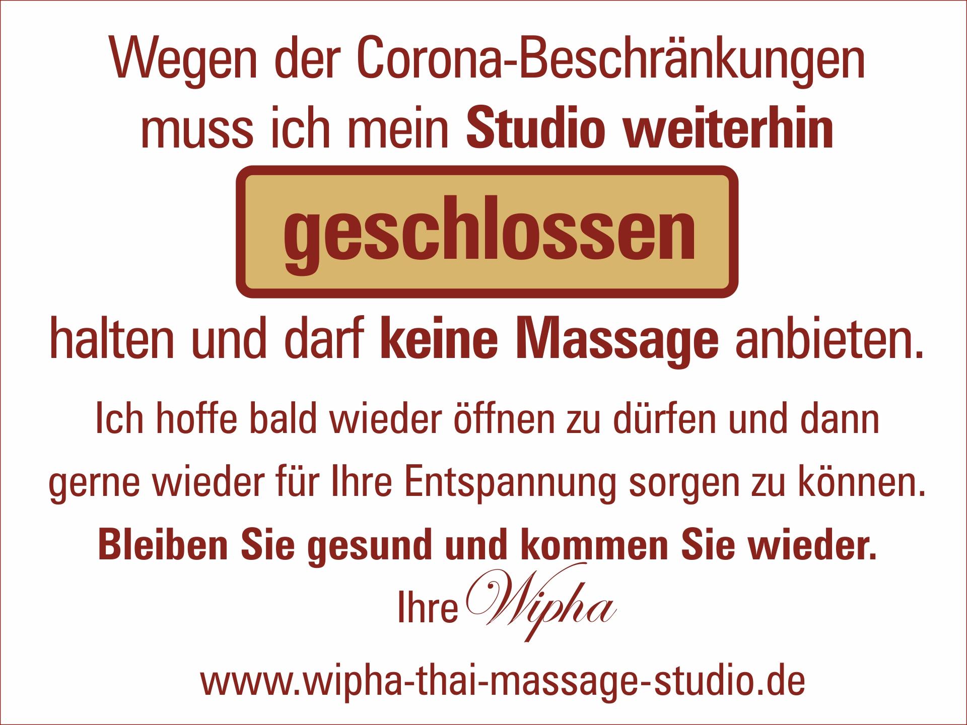 Wipha Thai Massage Studio. Wegender Corona-Einschränkungen derzeit leider geschlossen. Gutscheine erhältlich.